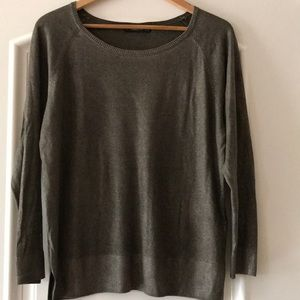 Zara olive light shimmer lightweight sweater, L